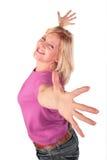 2个跳舞的中年立场妇女 免版税库存照片