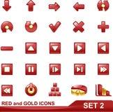 2个金图标红色集 库存照片