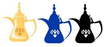 2个阿拉伯剪影茶壶 免版税图库摄影