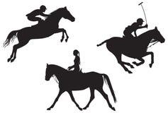 2个骑马剪影炫耀向量 图库摄影