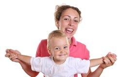 2个婴孩飞行母亲 库存图片