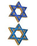 2个3d犹太星形样式 免版税库存图片