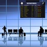 2位机场乘客被设置等待 免版税库存照片