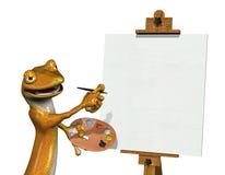 2位艺术家空白画布壁虎 免版税图库摄影