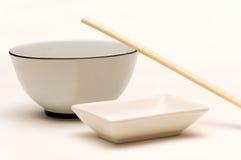 2双碗筷子调味大豆 图库摄影