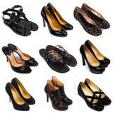 2双黑暗的女性鞋子 免版税库存图片