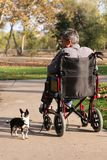2变老的人中间名轮椅 免版税库存照片