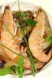2只新鲜的虾 免版税库存照片
