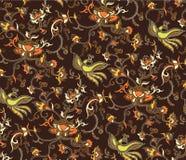 2只鸟花卉东方模式 库存图片