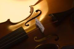 2台小提琴的接近的仪器音乐会 免版税库存照片