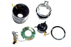 2台小照相机数字式被拆卸的查出的透& 免版税库存图片