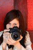 2台照相机女孩 库存照片