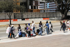 2名建筑劳工罢工贸易工作者 图库摄影