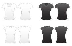 2名适合的S系列衬衣t模板妇女 免版税图库摄影