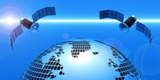 2在空间的卫星与地球 免版税库存照片