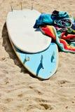 2块冲浪板毛巾 图库摄影