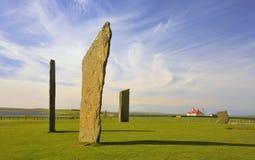 2块小岛新石器时代的orkney常设stenness石头 免版税库存图片