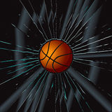 2块篮球被中断的玻璃 免版税图库摄影