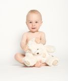 2头熊逗人喜爱的婴儿女用连杉衬裤 免版税库存图片