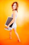 2少年运载的女孩的监控程序 免版税库存照片