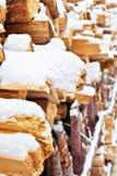 2干燥firewoods雪 库存照片