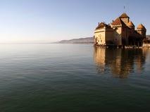 2座城堡ch chillon montreux 库存图片