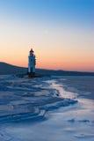 2座灯塔冬天 库存照片