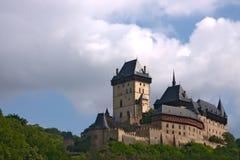 2座皇家城堡捷克的karlstejn 库存照片