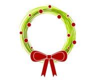 2把弓圣诞节土气花圈 免版税库存照片
