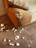 2损坏的沙发 库存照片