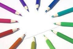 2支圈子色的铅笔 免版税库存照片