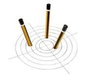 2支铅笔目标 库存图片