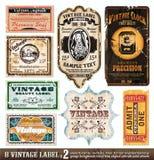 2收集标号组葡萄酒 免版税图库摄影