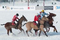 2月7日pleso马球斯洛伐克雪strbske 免版税库存图片