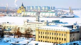 2月Nizhny Novgorod端口strelka视图 库存照片