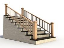 2木扶手栏杆大理石的楼梯 向量例证