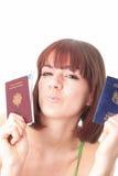 2本护照妇女 免版税库存图片