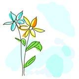 2朵花水彩 免版税库存照片