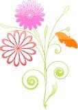 2朵花漩涡 向量例证