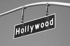 2条大道bw好莱坞符号街道 库存图片