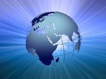 2条射线地球光 库存图片