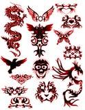 2条部族不同龙的纹身花刺 免版税库存照片