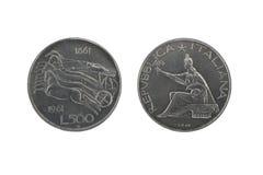 2枚硬币意大利银色联盟 库存照片