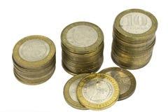 2枚背景硬币俄国苏联白色 库存照片