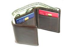 2棕色老钱包 库存照片