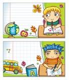 2横幅儿童逗人喜爱的零件学校 免版税库存图片