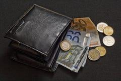 2欧元钱包 库存照片
