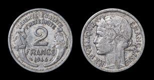 2法郎古色古香的硬币  库存图片