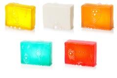 2泡影手工制造查出的集合肥皂 库存图片