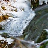 2流的冰雪水 免版税库存照片